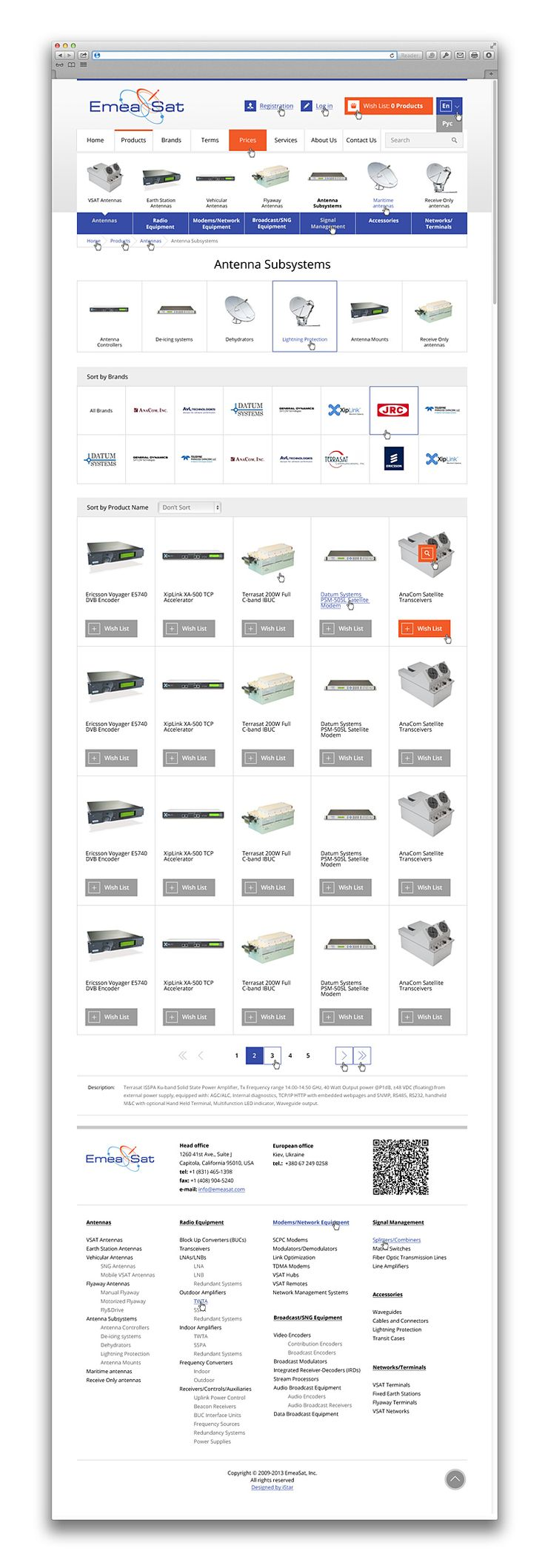 Online store EmeaSat designed by iStar Design. EmeaSat supplies equipment and services for satellite communication and broadcasting systems.