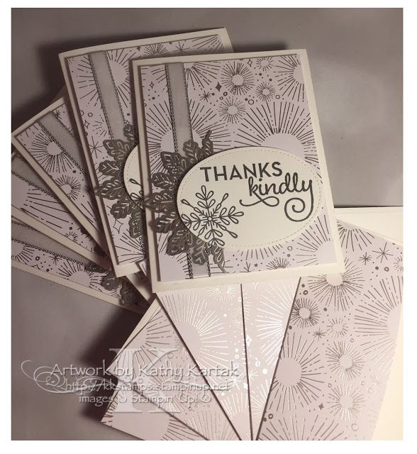"""Faithful INKspirations: Creation Station: Metallics Gone Wild--I made a set of these quick thank you cards with Stampin' Up's """"One Big Meaning"""" and """"Snowflake Sentiments"""" stamp sets and the gorgeous Year of Cheer Designer Series Paper. Check them out on my blog where you can start on the December 2017 Creation Station blog hop."""
