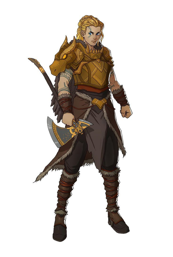 Female Human Fighter Barbarian With Battle Axe And Armour Made