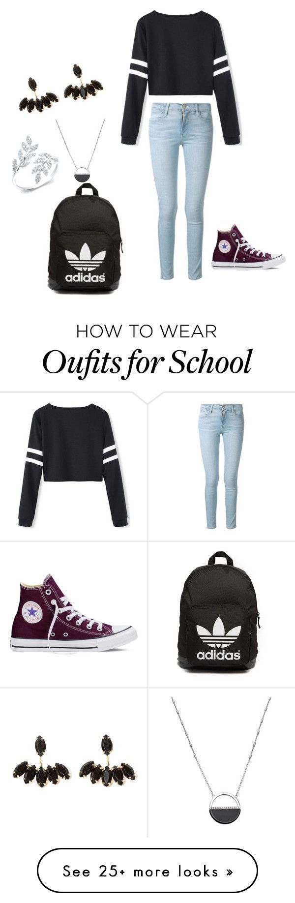 """""""School"""" by cmk04 on Polyvore featuring Frame Denim, Converse, adidas Originals, White House Black Market, women's clothing, women's fashion, women, female, woman and misses"""