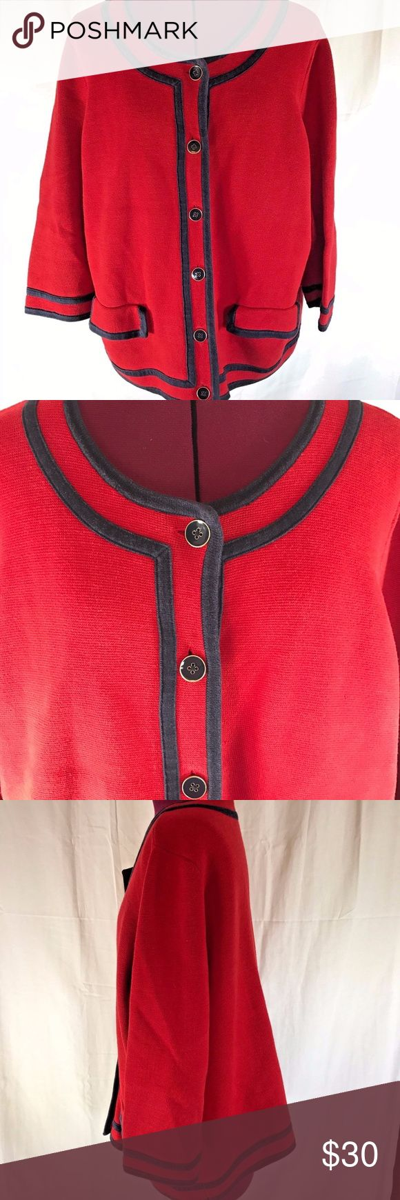 "Talbots 3/4 Sleeve Nautical Cardigan Super cute  cardigan by Talbots Woman  Red with Navy Blue details  Button front  2 single patch pockets with flap closures on front  Ribbed Cuffs  Ribbed Hem  Size 2X   Measures 25"" across bust  Measures 23"" long  Sleeve measure 19"" from shoulder seam to cuff hem  Gently worn, good condition, TAG is unattached on one side, see pic  Super cute with navy blue accents! Talbots Sweaters Cardigans"