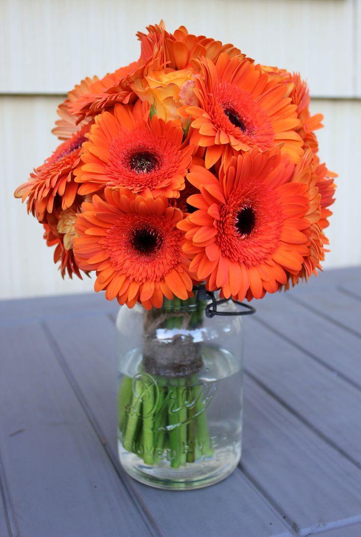 Mason Jar Oranges Bright Orange Flowers In Clear Mason