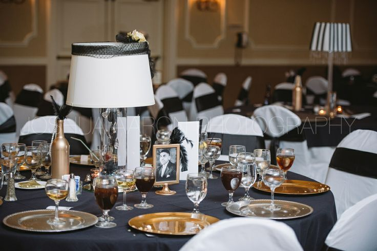 Lampshade centerpieces at Harlem Renaissance wedding.  Wishes Granted Events