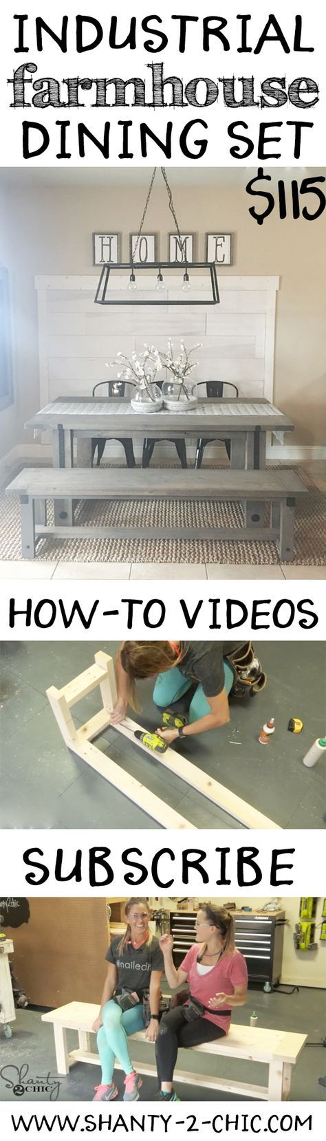 Build your own Industrial Farmhouse Dining set for only $115 in lumber with free plans and a how-to video! This entire dining area is DIY!!