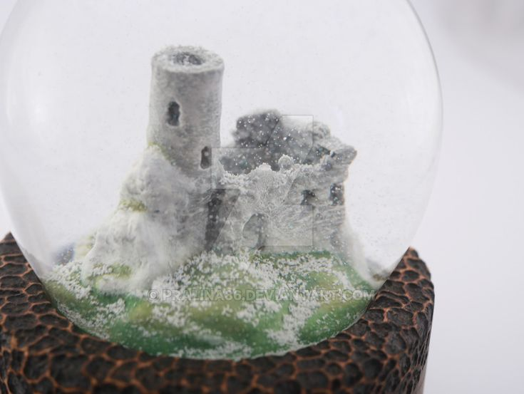 Logo Juriperus, ruins in snow globe by Pralina86