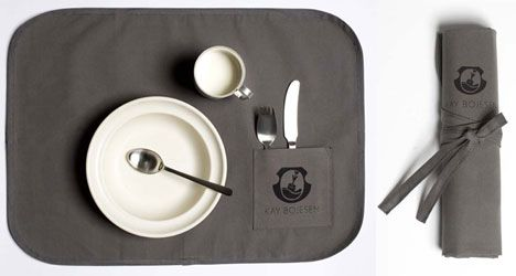 Kay Bojesen's Grand Prix in cool canvas. Child set 3 pieces: spoon fork, child knife, and child spoon. Wrapped in a canvas placemat.  Kay Bojesen Grand Prix cutlery / flatware. Danish design.