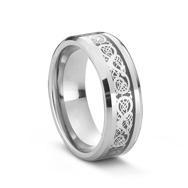 Silver Dragon Design Inlaid Tungsten Carbide Men's Ring