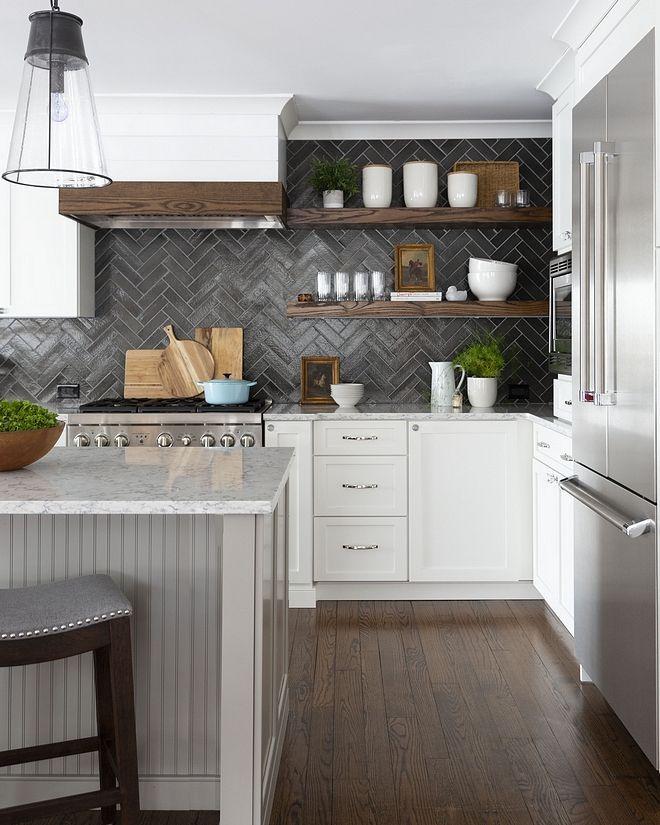 White Kitchen Cabinets With Dark Grey Backsplash Tile Kitchen Interior Interior Design Kitchen Kitchen Cabinet Styles