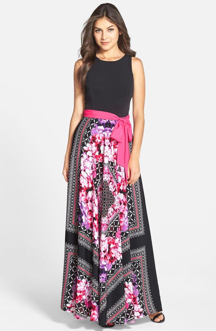Find Eliza J Scarf Print Jersey & Crêpe De Chine Maxi Dress (regular & Petite) Only at Modalist