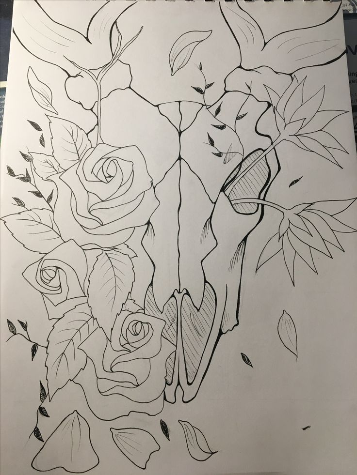 Still learning how to draw flowers but still I'm pretty happy with this peace of work~ •it's tattoo inspired •the skull is a rain deer skull •u•