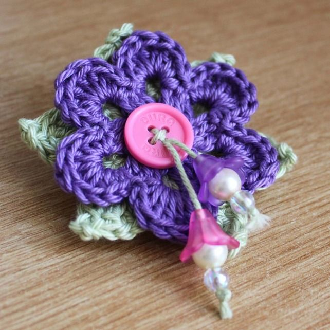 Purple Crochet Flower Brooch with Hanging Flower Beads