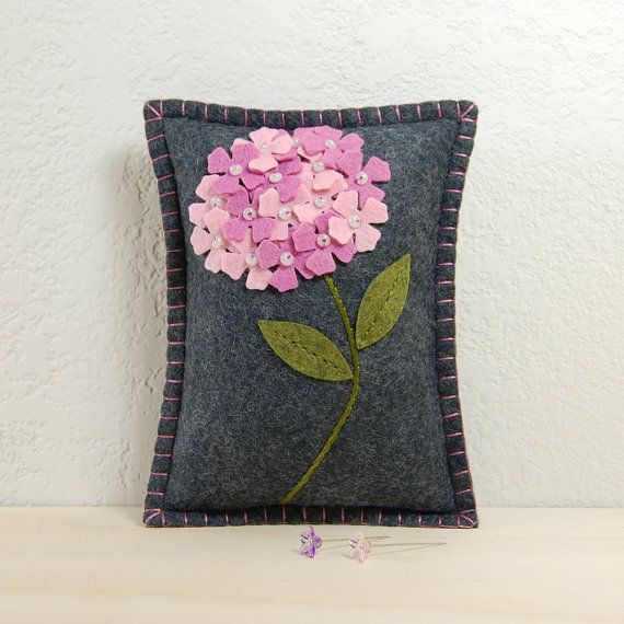 Pink Hydrangea Pincushion Hand Embroidered on Grey Wool Felt by TheBlueDaisy