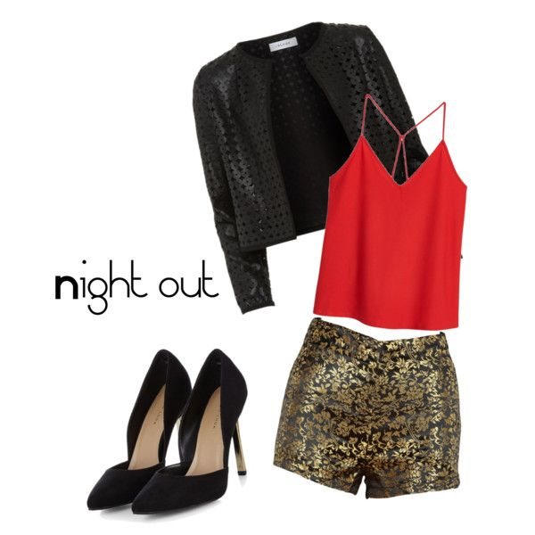 Night Out by keibees on Polyvore featuring polyvore fashion style MANGO Maglie I Blues