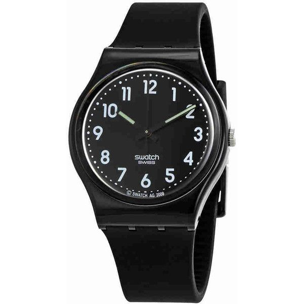 Swatch Black Suit Black Dial Ladies Watch (508.500 IDR) ❤ liked on Polyvore featuring jewelry, watches, plastic jewelry, bezel jewelry, crown jewelry, swatch watches and bezel watches