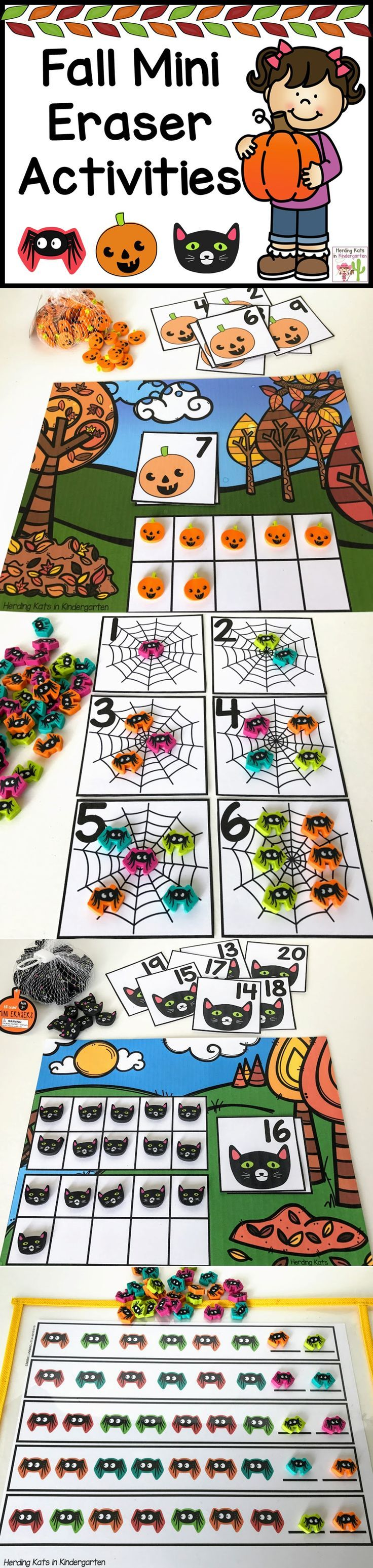 Math activities for the Fall Target mini erasers - ten frames, 1-1 correspondence, patterns and number recognition.
