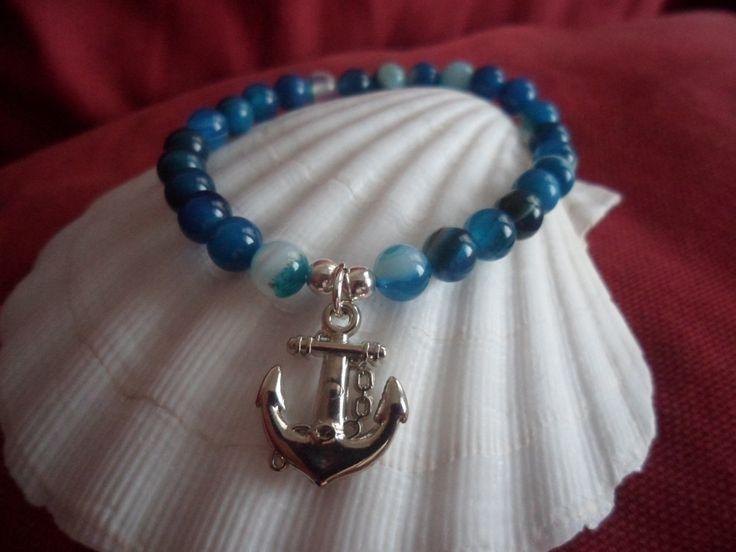 Natural Striped Blue Agate semi precious gemstone bead Nautical theme stretch Bracelet with anchor charm. Beach/nautical wedding jewellery. by HazelsWeddingShop on Etsy