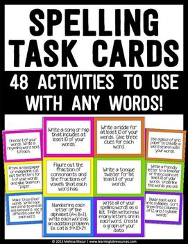 Spelling Task Cards - This is a document containing 48 different word work or spelling center activities for students in grades 2-5.