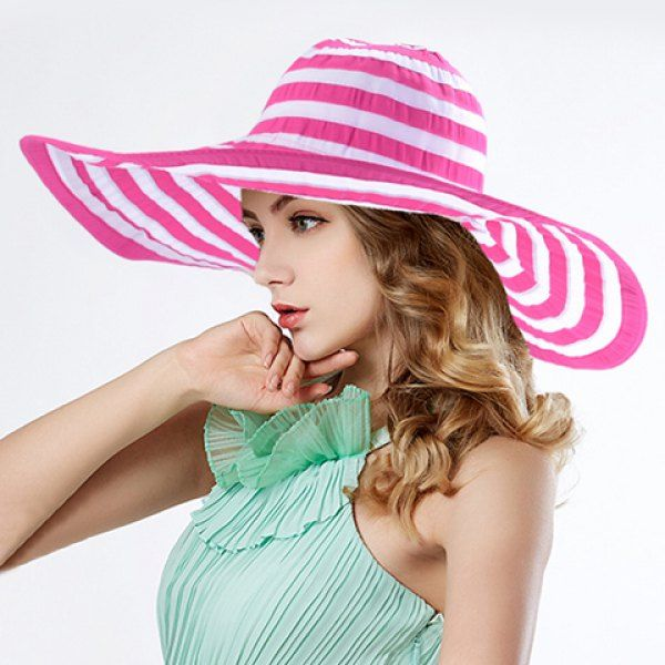 Chic Stripes Pattern Color Block Wide Brim Sun Hat For Women #hats, #watches, #belts, #fashion, #style