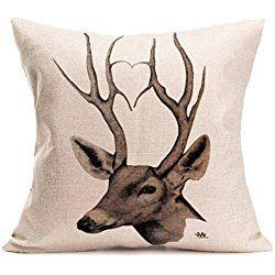 Hatop Christmas Deer Pillow Case Sofa Waist Throw Cushion Cover Home Decor (N)
