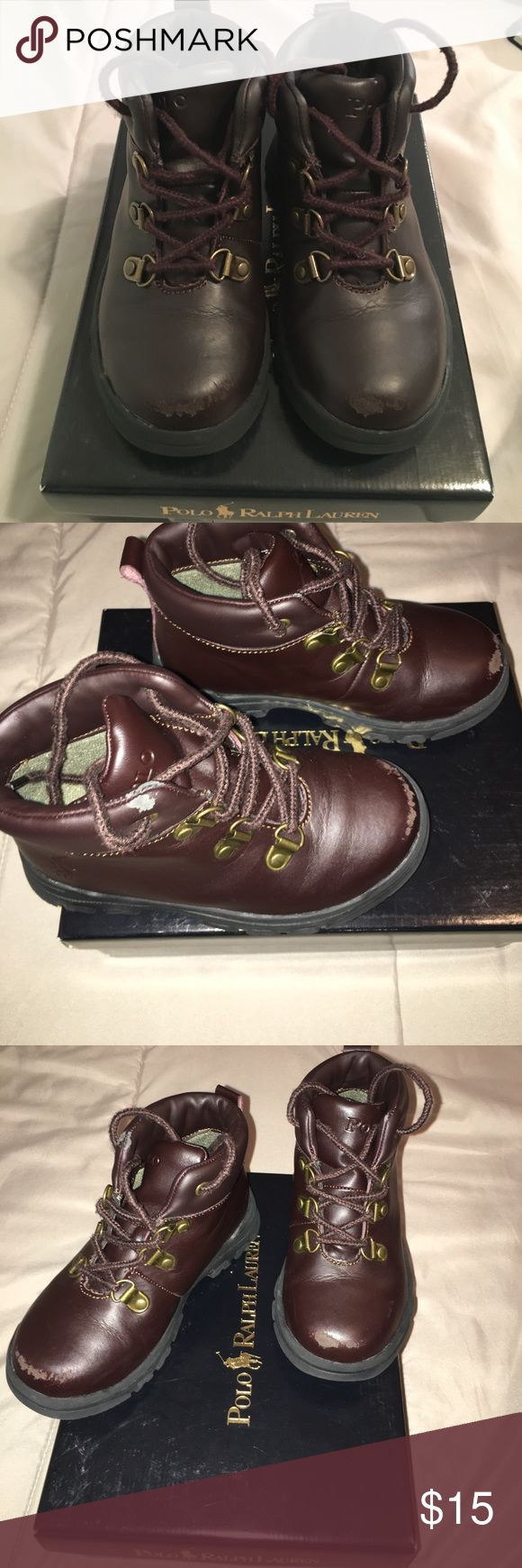 Polo boots 8.5c GUC, has some flaws (scuffing and peeling) as seen in pictures.  Comes with original box Polo by Ralph Lauren Shoes Boots