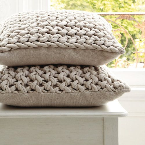 LOVE them...beautiful knitted cushions