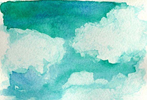 Dipinto in acquerello astratto del cielo verde acqua di MarMusArt