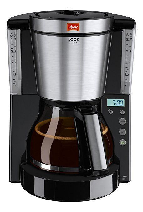 Melitta Look IV Timer, 1011-08, Filter Coffee Machine with Glass Jug, Timer and Programmable Warmer, Aroma Selector, Black/Brushed Steel