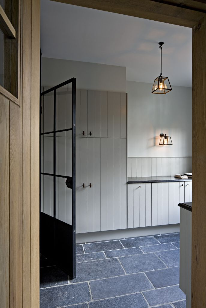 Utility Room Steel factory doors, slate, lanterns