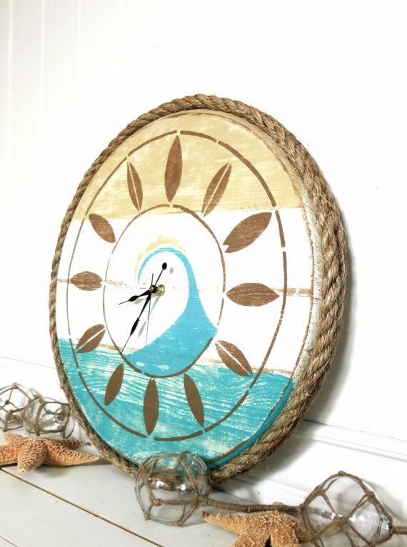 Meet Me Bye The Sea Surfs Up Clock    Plank Style With Nautical Rope Encasement    19  round    Sea star tan, beach pale teal, beach baby teal,
