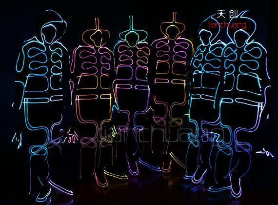 LED light Up Fiber optic Wizard Suit