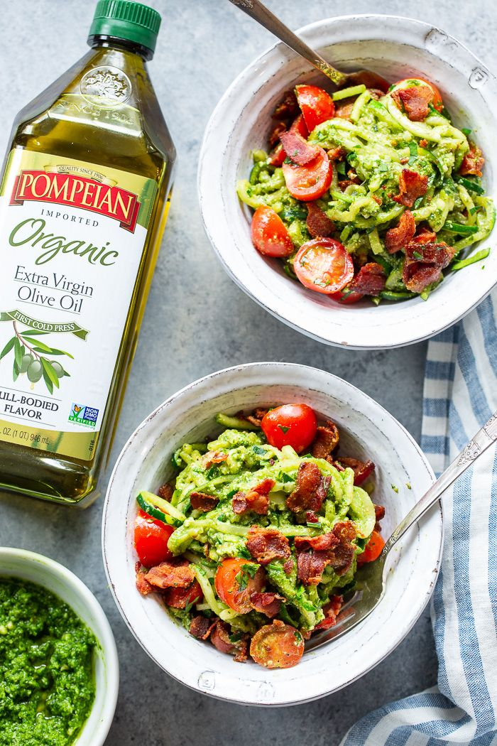 Blt Pesto Zoodles Keto Whole30 Pesto Zoodles Stuffed Peppers