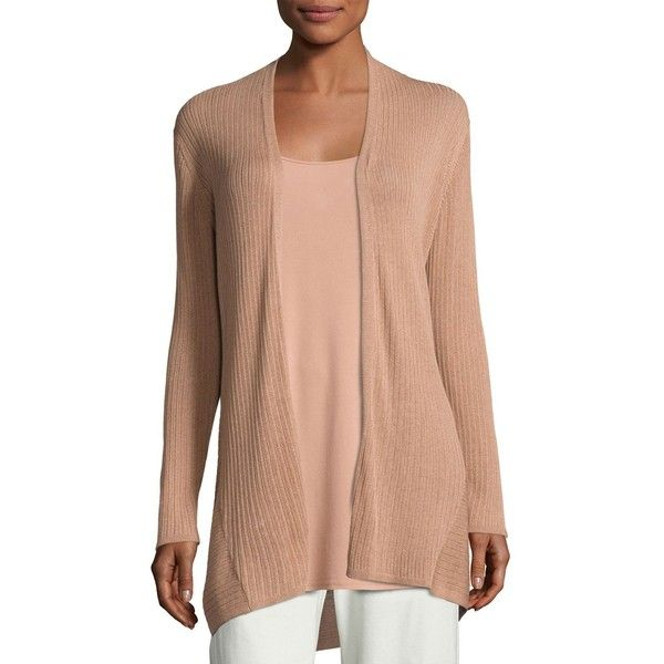 Eileen Fisher Ribbed Silk-Blend Cardigan ($236) ❤ liked on Polyvore featuring plus size women's fashion, plus size clothing, plus size tops, plus size cardigans, toffee cream, slimming tops, eileen fisher, eileen fisher cardigan, long sleeve open front cardigan and cream long sleeve top