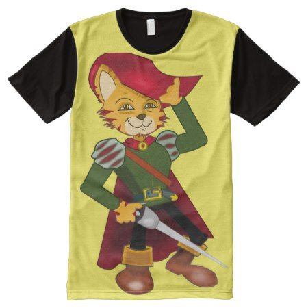 Musketeer Cat Clip Art All-Over-Print T-Shirt - tap, personalize, buy right now!