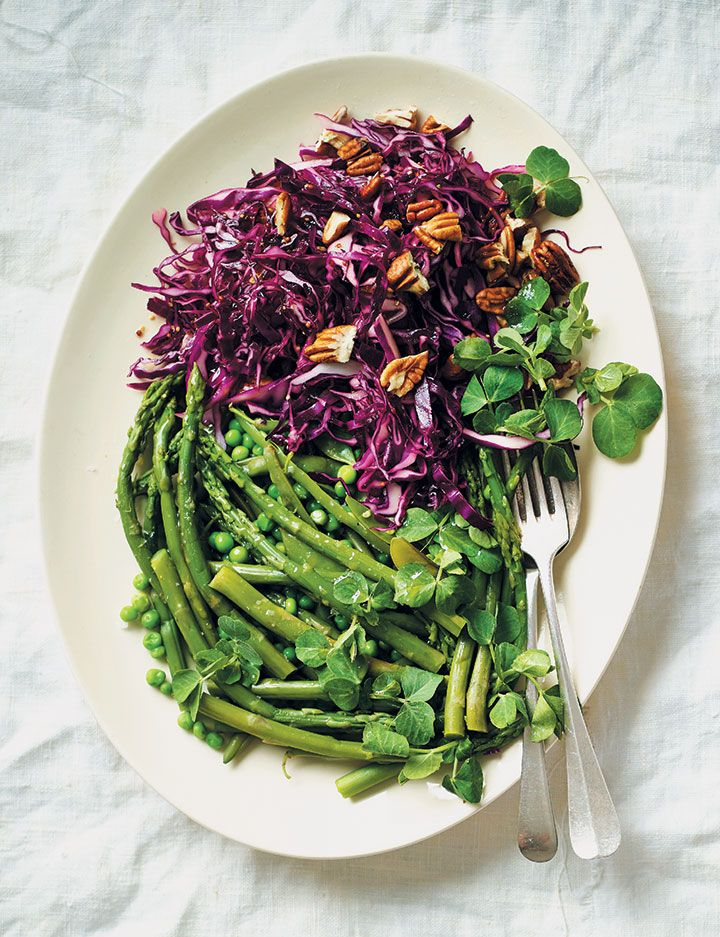 Shamrock greens with purple cabbage and pecan salad