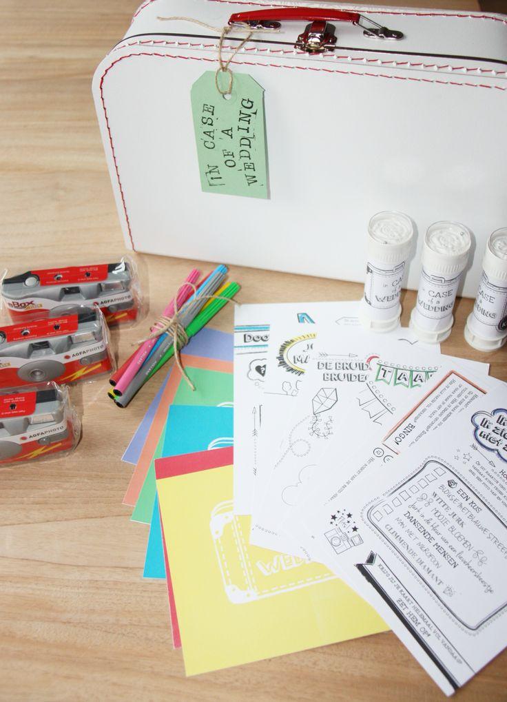 Kinderen op je bruiloft? Deze activiteiten koffer (in case of a wedding) is geschikt voor maximaal 6 kids! Hou je kids lekker bezig gedurende de bruiloft! Onder andere te bestellen via:  http://www.versieringbruiloft.com/c-235126/voor-kinderen // ontwikkeld door Out of the Box event & weddingplanning // www.out-of-the-box.nu #kinderen #bruiloft #koffer
