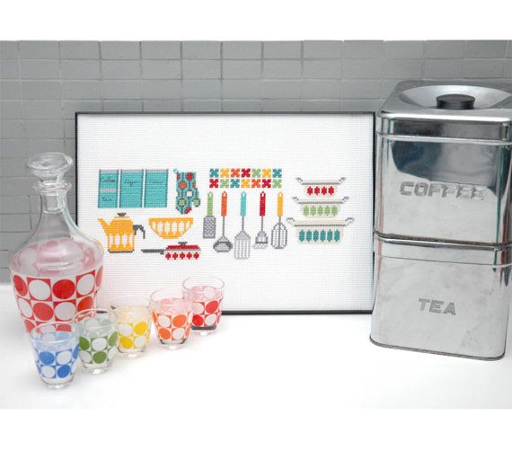 Kitchen Gadgets Motifs Cross Stitch Pattern por tinymodernist