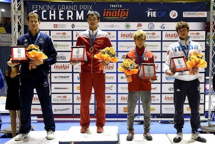 FIE GP Torino 2015 Podium: Gold Jianfei MA (CHN), Silver Richard KRUSE (GBR), Bronze Kwanghyun LEE (KOR) and Lorenzo NISTA (ITA) (Photo:Augusto BIZZI)