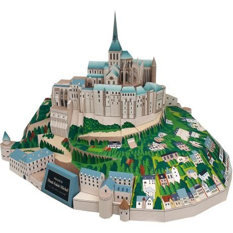 France Mont Saint-Michel monastery, building, paper craft, Europe, France, monastery, world heritage, building Free Papercraft