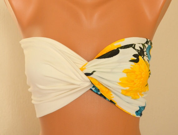 Floral top twisted upcycle cotton jersey lycra bandeau by bstyle, $20.00