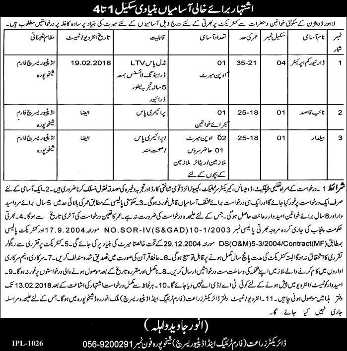 Jobs In Agriculture Department Lahore Division 24 Jan 2018