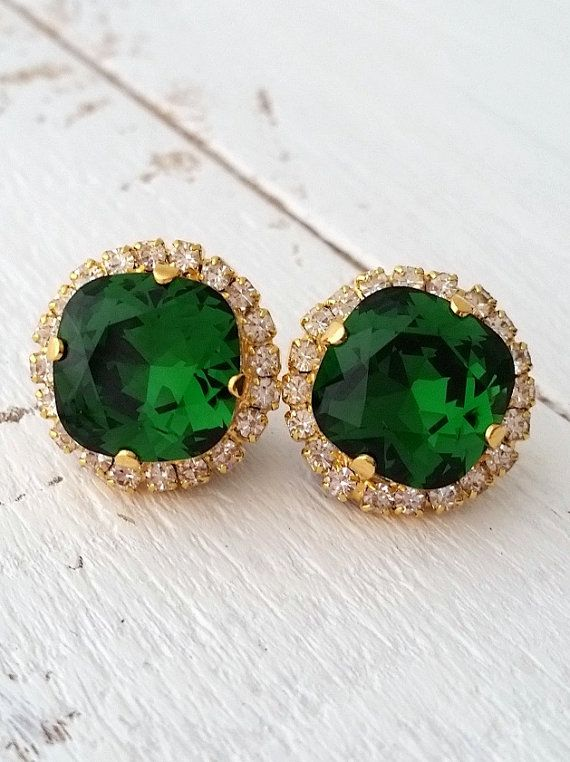 Emerald green Crystal stud earrings Bridal by EldorTinaJewelry | http://etsy.me/1XG9E8H