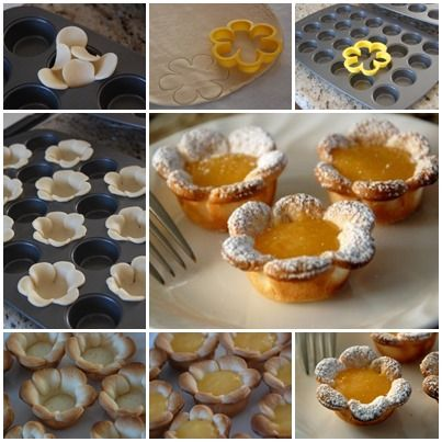 How to DIY Pretty Flower Shaped Mini Tarts tutorial and instruction. Follow us: www.facebook.com/fabartdiy
