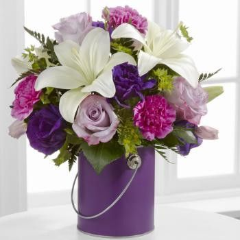 180 best products images on pinterest floral bouquets florists yellow lilies and purple flowers in a purple vase mightylinksfo