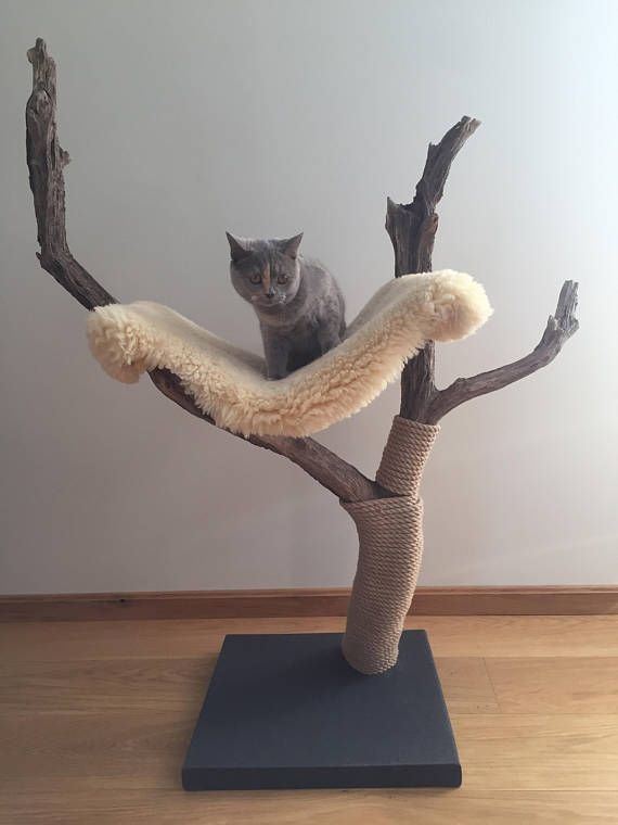 Handmade cat tree with real sheep skin hammock. Made from local driftwood. Very stable. I have been building cat trees for a while now and so far this one is my favourite. Tested and approved by a 7-month-old specialist! Dimensions: Baseplate: 44,5cm x 45,5cm x 4cm Highest point from #cathousehandmade