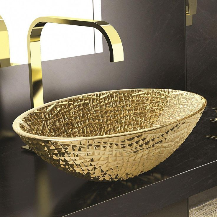 WS Bath Collections Ice Oval Lux Vessel Bathroom Sink in Gold 20.1″ x 13.6″ From the Art Design Collection by WS Bath Collections