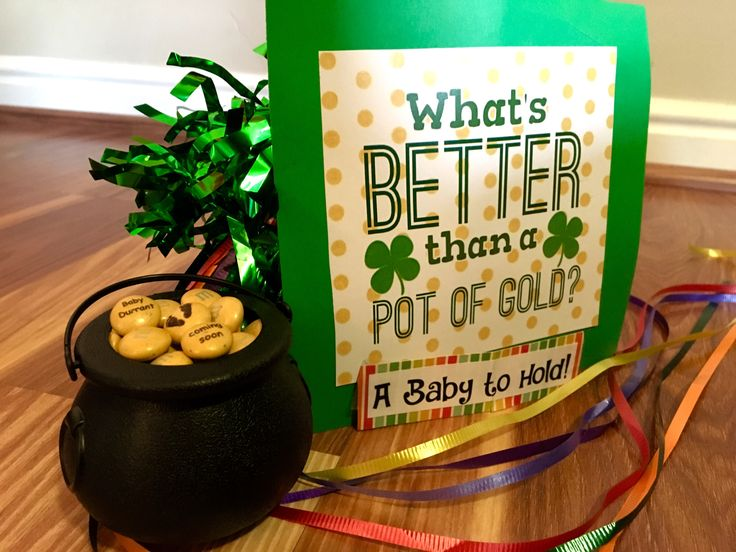 Pregnancy announcement for March st. Patrick's day. Pot of gold baby to hold