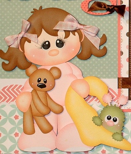 JULIE Premade Girl Child Scrapbook Pages paper piecing for 12 x 12 album