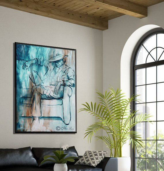 Oil Painting Blue Painting For Living Room Wall Art Masculine