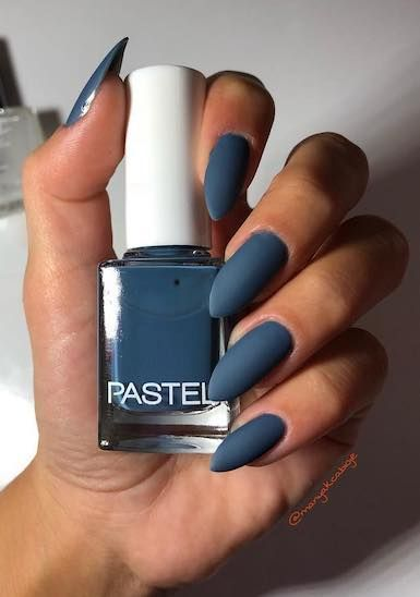 Lovely blue matte nail polish with almond shape