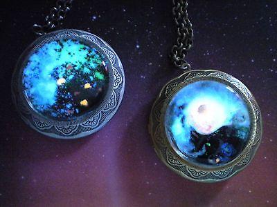 Glow Galaxy Map Pendant - Mass Effect - Glow in the Dark Locket Necklace